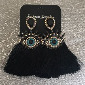 Jewelry - Gorgeous Statement Rhinestone Eye Tassel Earrings
